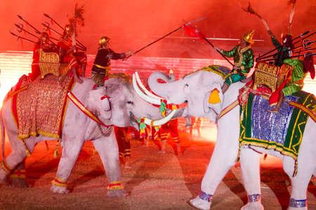 AYUTTHAYA THAILAND - DECEMBER, 9,2012- Ayutthaya Light & Sound Presentation and Thai historical acting festival on December 9-16,2012 in Wat Mahathad Ayutthaya. Stock Photo - 17464916