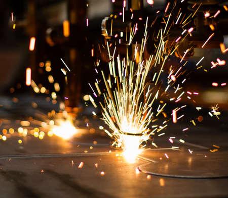 lasercutting: Fireworks of CNC LPG gas cutting close-up
