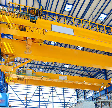 hook up: Factory overhead crane Stock Photo