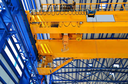 crane: Factory overhead crane Stock Photo