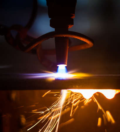 CNC LPG cutting with sparks close up  photo