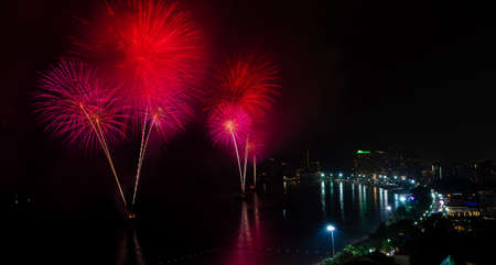 Big Fireworks of Pattaya Beach Thailand,  New Year 2013 photo