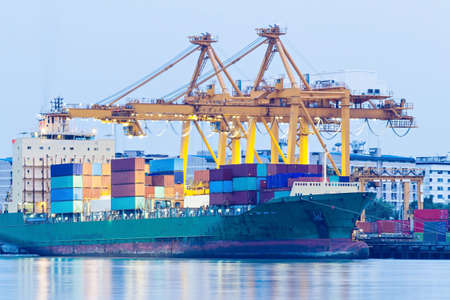 Industrial Container Cargo freight ship with working crane