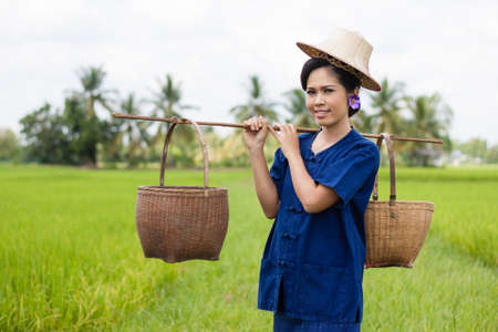 Woman in farmer suit on rice fields photo