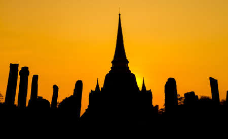 ayutthaya: Pagoda at wat Phra sri sanphet temple at twilight, Ayutthaya, Thailand