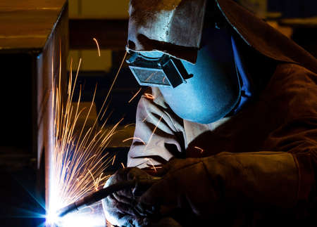 welding worker: Welding steel structure  Stock Photo