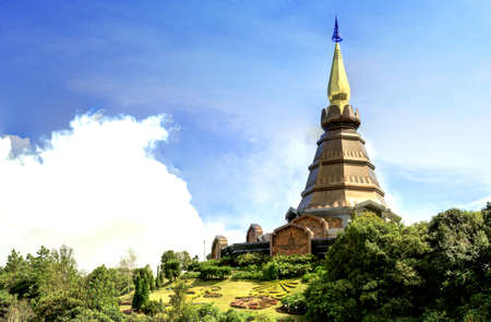 Landscape of pagoda at Doi Inthanon, chiangmai - Thailand  photo