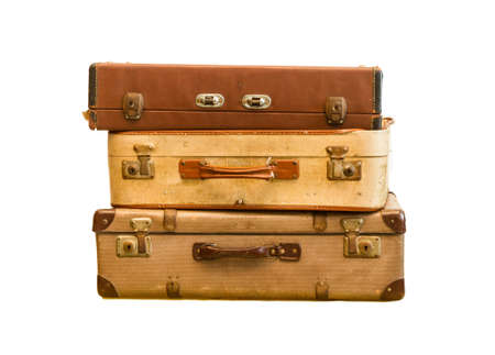 antique suitcase: Pile of old vintage bag suitcases on isolate background