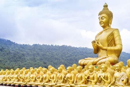 praye: Buddha statue in Nakonnayok, Thailand Stock Photo