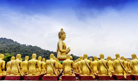praye: View of buddha statue in Nakonnayok, Thailand Stock Photo