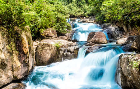 torrent: Waterfall and blue stream in the forest Thailand