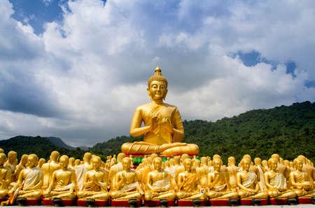 thai believe: Buddha statue in Magha Puja park, Nakonnayok-Thailand