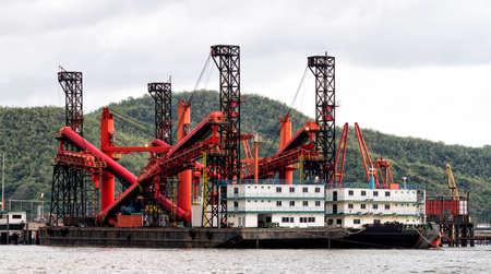 dredger: Dredger ship at the harbour, Thailand