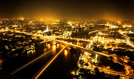 Bangkok city at night, Thailand photo