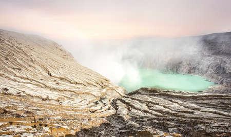 Crater of volcano Ijen  Java  Indonesia   photo