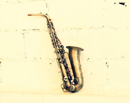 bugle: The image of a saxophone (vintage stye) Stock Photo