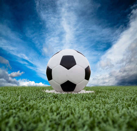 Football field soccer stadium on the green grass blue sky sport  photo