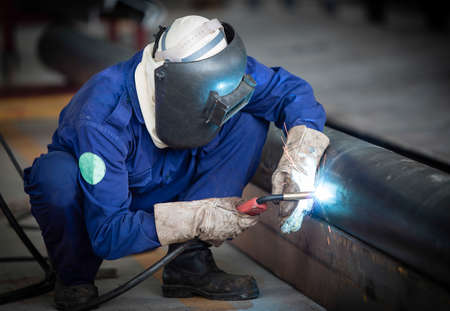 metal pipe: Welding work  Stock Photo