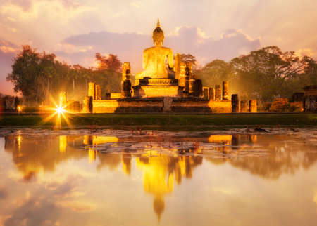 ancient india: Sukhothai historical park, the old town of Thailand Stock Photo