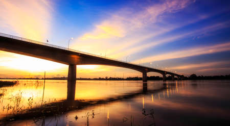bridge over water: Bridge across the Mekong River. Thai-Lao friendship bridge, Thailand
