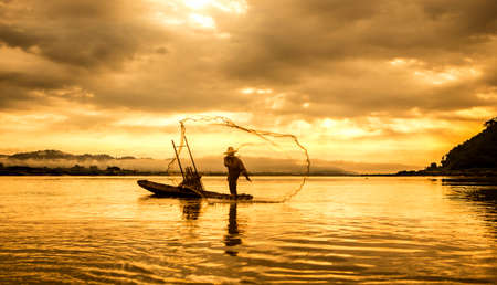 inle: Fisherman of Lake in action when fishing, Thailand
