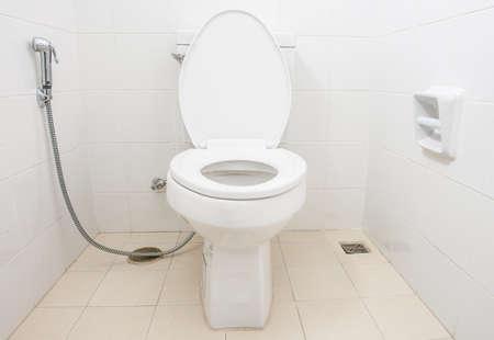 latrine: Toilet bowl in a modern bathroom.