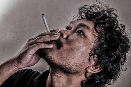 destitute: Man smoking (Retro style)