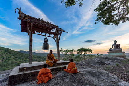 Young novice monks learning Stock Photo