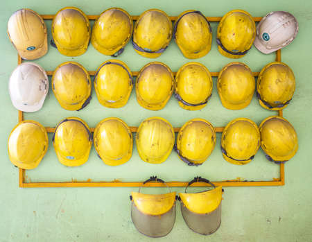 protective: Old construction helmets