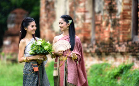 thailand silk: Beautiful Thai girl in Thai traditional costume