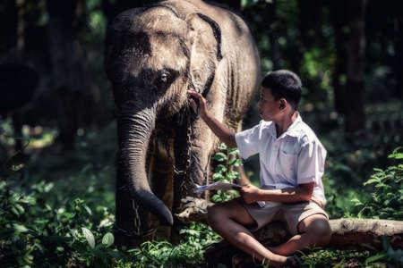pobre: Estudiante niño asiático con él elefante, campo en Tailandia