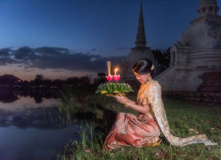 Loy Krathong Traditional Festival, Thai woman hold kratong, Thailand