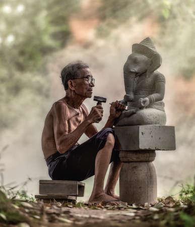 trabajo manual: Tallador de piedra, Tailandia