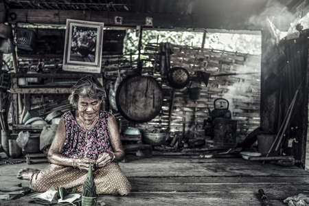 Old Asian woman with wrinkles elderly senior Standard-Bild