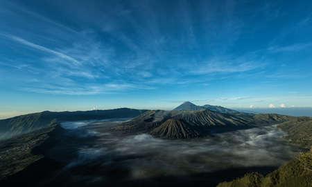 Mount Bromo volcano during sunrise, East Java, Indonesia. Stock Photo