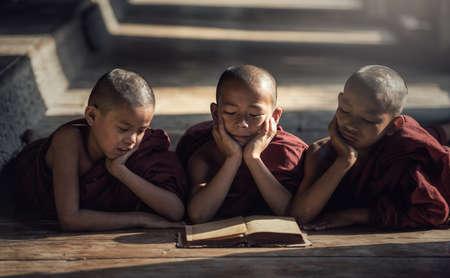 Novice monk reading book,in monastery, Bagan, Myanmar
