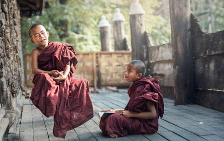 buddhist's: Buddhist novice in temple, Myanmar