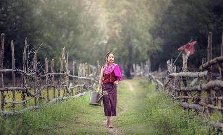 working woman: Thai local woman working