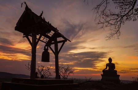 buddhist's: Buddha statue in sunset at Phrabuddhachay Temple Saraburi, Thailand Stock Photo