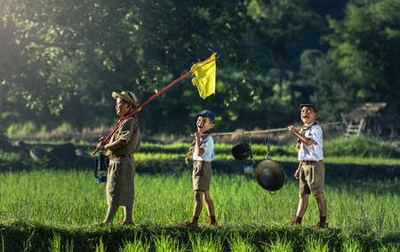 キャンプ場で少年団 写真素材