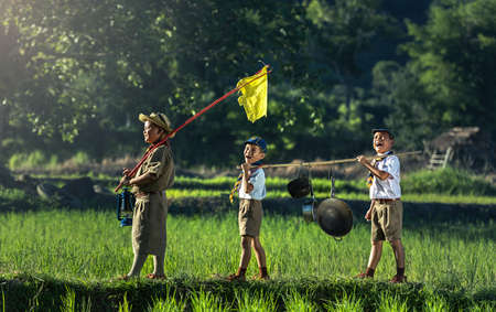 Boy Scouts in a Campsite Stockfoto