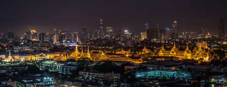 Thailand Grand palace and Wat phra kaew at night in Bangkok, Thailand Stock Photo