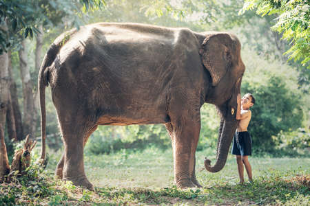 canny: Friendship between children with elephant at countryside of Thailand
