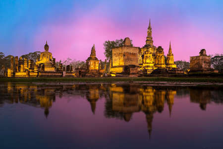 Sukhothai historical park, the old town of Thailand in 800 year ago, location North of Thailand