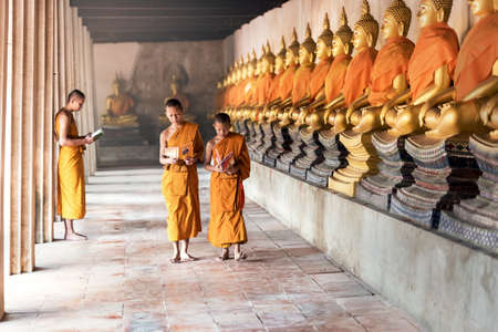 tantric: Thai Novices at temple in Ayutthaya Historical Park, Thailand