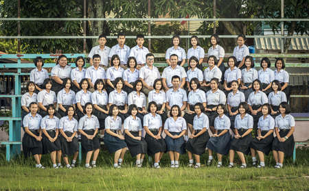 BANGKOK, THAILAND - SEPTEMBER 1: Unidentified students on September 1, 2016 at School, Education in Thailand is provided by the Thai government through the Ministry of Education.