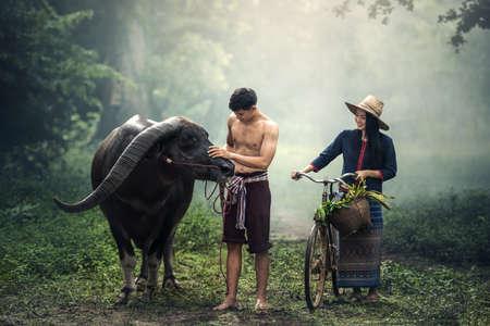 Couple farmer in farmer suit with buffalo Stock Photo