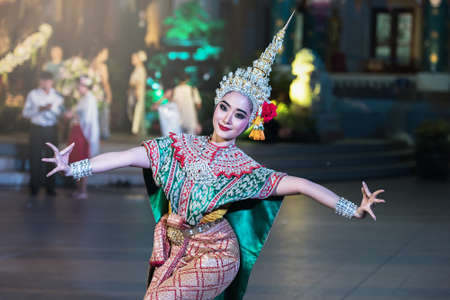 Khon is traditional dance drama art of Thai classical masked, this performance is Ramayana epic Stock Photo