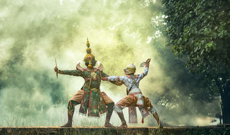 Khon is traditional dance drama art of Thai classical masked, this performance is Ramayana epic Stok Fotoğraf