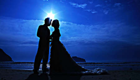 Silhouette couple love and romantic